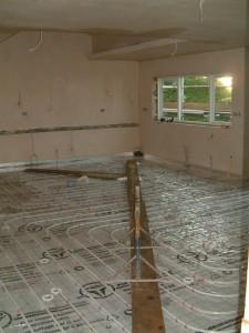 Part of the underfloor heating grid just installed