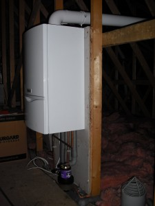 Vaillant system boiler in loft space