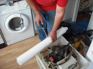 Powerflush machine pressed into service as a WorkMate