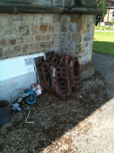 Part of the old boiler awaiting the scrap contractor