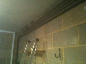 Insulated pipework inside garage