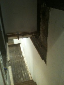 Old boiler location was to the right hand side of the cellar steps
