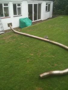Old boiler flue liner removed