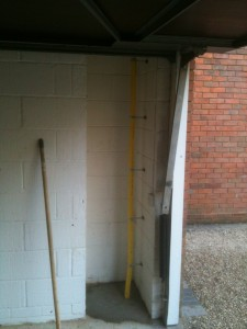 Our new gas supply to warm units running inside garage