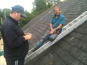 Dave, our master roofing contractor, with his assistant John (left)