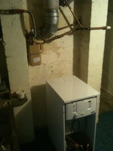 Gas Boiler Goes Up Chimney In House Hot Water And