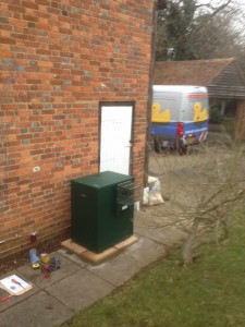Worcester-Bosch Camray 25/32 oil boiler fitted outside.  Green is the new grey in outside boilers.