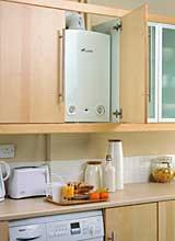 Worcester Bosch Greenstar RI installed in a kitchen cupboard - Boiler Installation Tonbridge, Kent