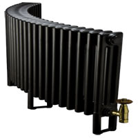 Curved black radiator used in Central Heating Installations, Tonbridge