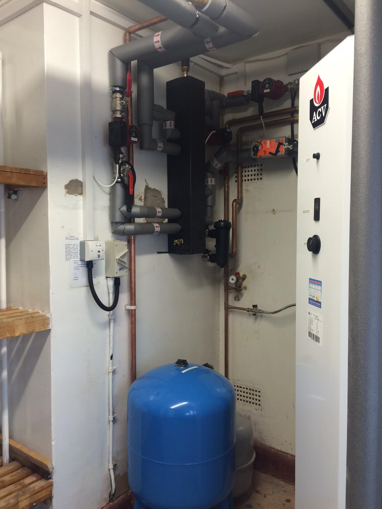 The ACV Heatmaster was attached to a header, giving three zones of heating control and the Jumbo hot water unit