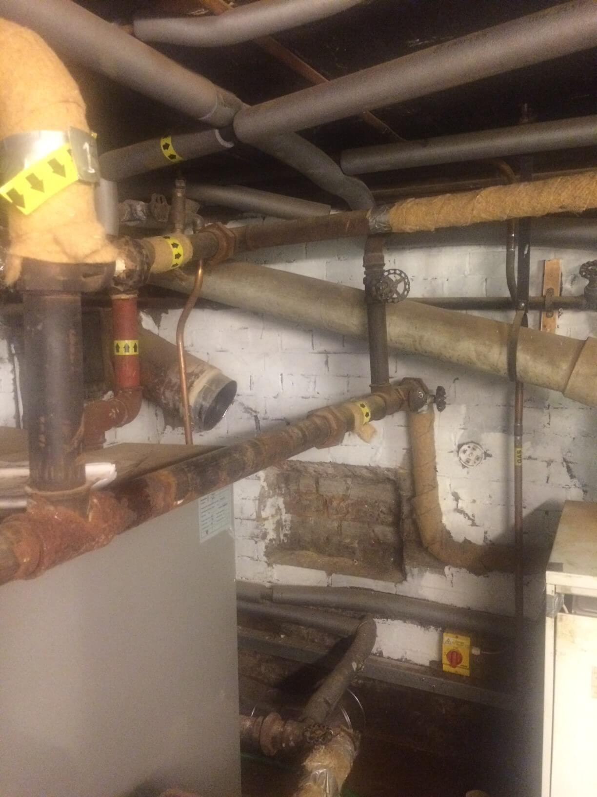 Old pipework had been modified over the years